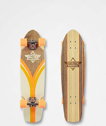 "Dusters Flash Back Off White and Orange 31"" Cruiser Complete Skateboard"