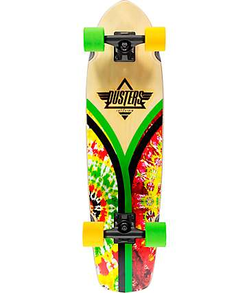 "Dusters Flashback Rasta Tie Dye 31"" tabla de skate cruiser completo"