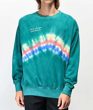 Duvin Spray Teal Crew Neck Sweatshirt