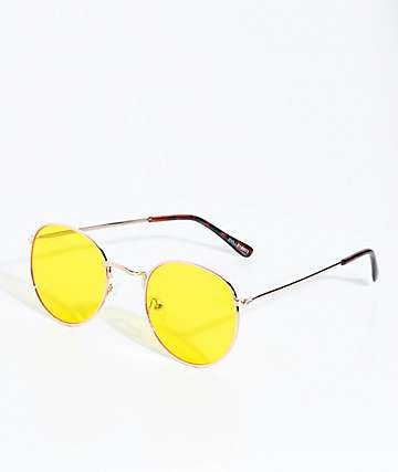 Dyllon Gold & Yellow Flat Lens Sunglasses