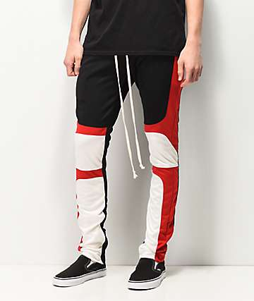 EPTM Black, Red & White Moto Track Pants