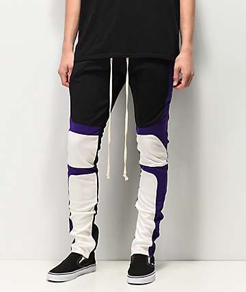 EPTM Purple, Black & White Moto Track Pants