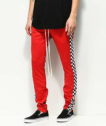 EPTM. Racing pantalones de chándal en rojo a cuadros