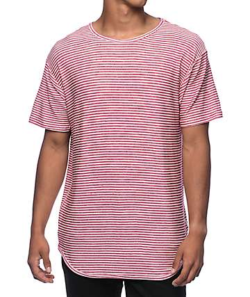 EPTM. Stripe French Terry Red Elongated T-Shirt