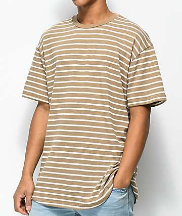 EPTM. Striped Tan & White Elongated T-Shirt