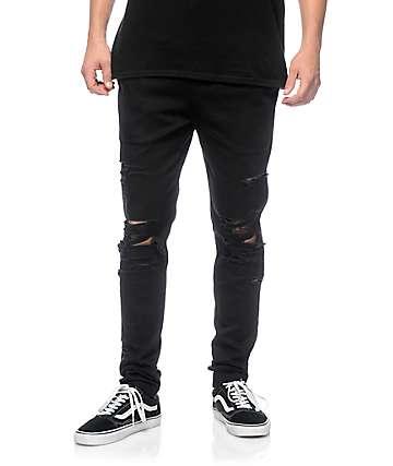EPTM. Thrashed Black Twill Pants