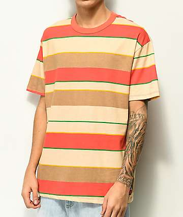 EPTM. camiseta de rayas anchas, verde, coral y marrón