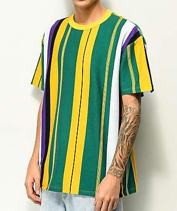 EPTM. camiseta de rayas verticales verde, amarillo y morado