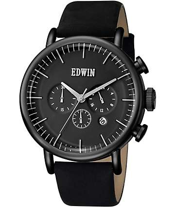 Edwin Element Black Leather Watch