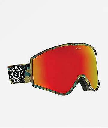 Electric Kleveland gafas de snowboard en rojo y camuflaje