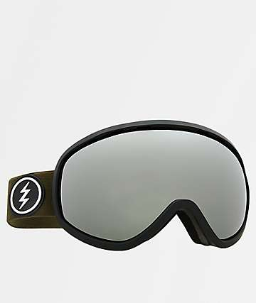 Electric Masher Gloss Black & Silver Chrome Snowboard Goggles
