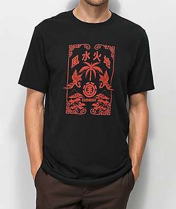 Element Bonzai camiseta roja y negra