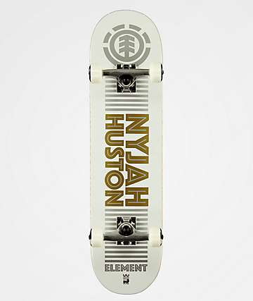 "Element Nyjah Reflective Gold & Silver 7.75"" Skateboard Complete"
