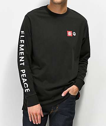 Element Peace Block Black Long Sleeve T-Shirt