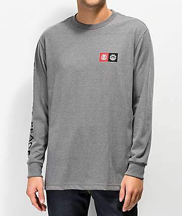 Element Peace Block Grey Long Sleeve T-Shirt