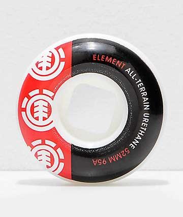 Element Section 52mm 95a ruedas de skate negras y rojas