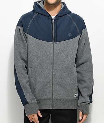 Element Steel Heather Grey & Navy Zip Up Hoodie