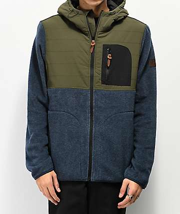 Element Trent Fleece Blue & Green Zippered Jacket