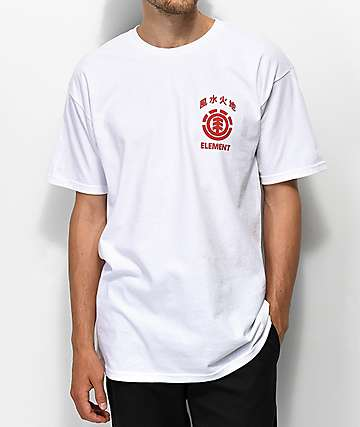 Element Woodcut White & Red T-Shirt