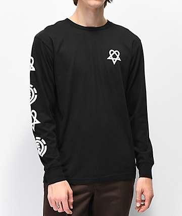 Element x BAM x HIM Tattoo camiseta negra de manga larga