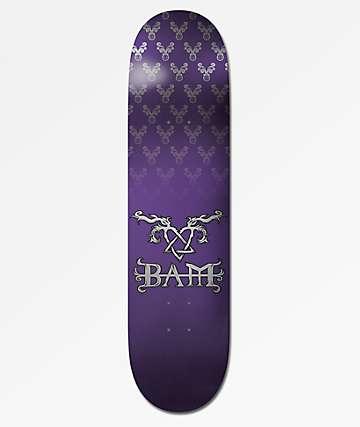 """Element x Bam x HIM Bam Tattoo Purple 8.0"""" Skateboard Deck"""