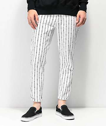 Elwood Barbed Wire Pinstripe Cropped White Jeans