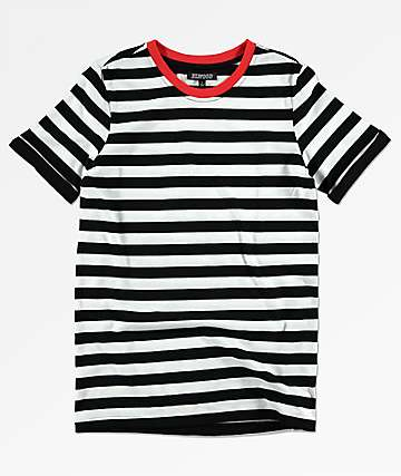 Elwood Boys Black & White Stripe Cuffed T-Shirt