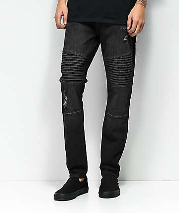 9cbffa6492a3 Elwood Moto Charcoal Destroyed Denim Jeans