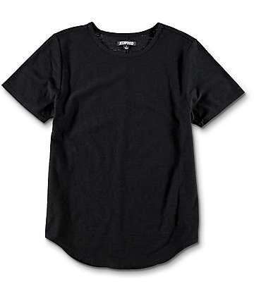 Elwood camiseta negra redondeada para niños