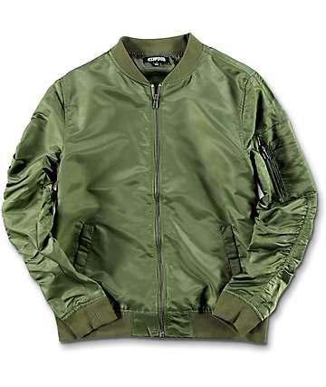 Elwood chaqueta bomber para niños en verde olivo