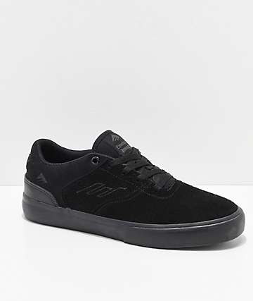 Emerica Boys Reynolds Vulc Low Black & Black Skate Shoes