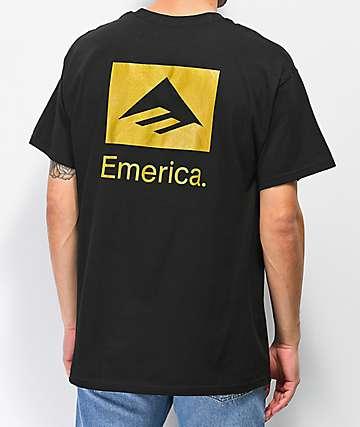Emerica Brand Stack camiseta negra y dorada
