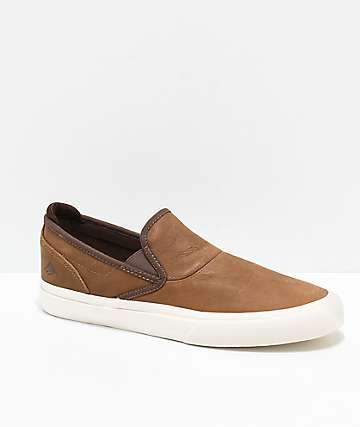 Emerica Dickson Wino G6 Premium Brown Leather & White Slip-On Skate Shoes