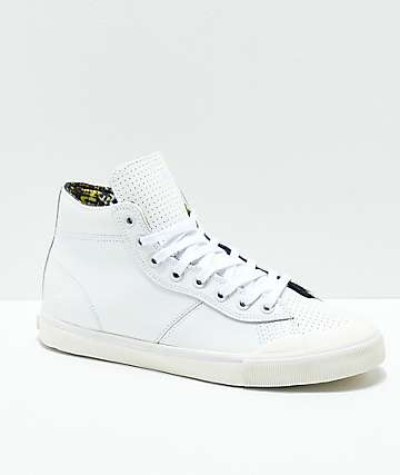 Emerica Indicator Hi Allen All White Leather Skate Shoes
