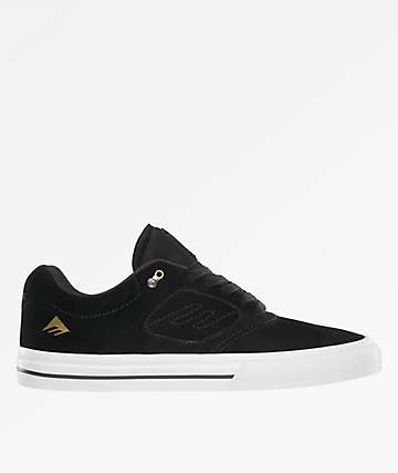 Emerica Reynolds 3 G6 Vulc Black, White & Gold Skate Shoes