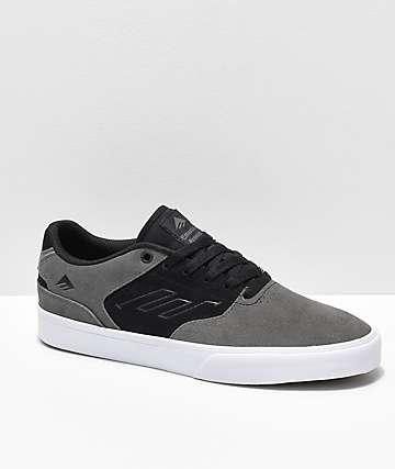 Emerica Reynolds Low Vulc Black, Grey & White Skate Shoes