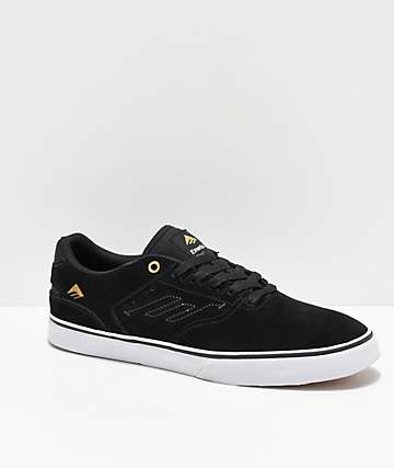 Emerica Reynolds Low Vulc Black, White & Gold Skate Shoes