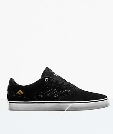 Emerica Reynolds Low Vulc Black & Dark Brown Skate Shoes