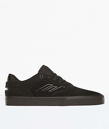 Emerica Reynolds Low Vulc Black Raw Suede Skate Shoes