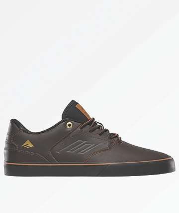 Emerica Reynolds Low Vulc Dark Brown Skate Shoes