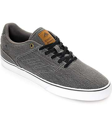 Emerica Reynolds Vulc Black Washed Denim Skate Shoes