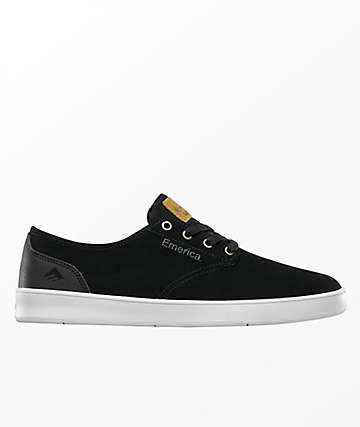 Emerica Romero Laced Black, Black & White Skate Shoes