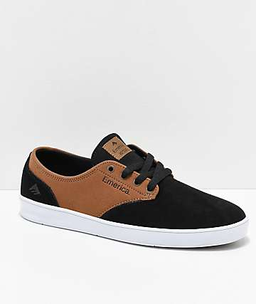 Emerica Romero Laced Black & Brown Suede Skate Shoes