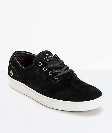 Emerica Romero Laced Black  White Suede Skate Shoes