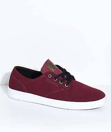 Emerica Romero zapatos de skate de ante borgoño