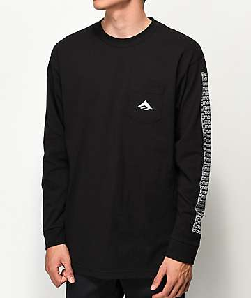 Emerica Team camiseta negra de manga larga con bolsillo