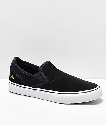 Emerica Wino G6 Black   White Suede Slip-On Skate Shoes d8b9d5b19