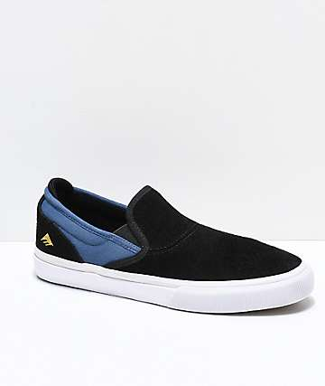 Emerica Wino G6 Kader Black & Blue Slip-On Skate Shoes