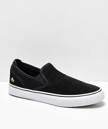 Emerica Wino G6 Slip-On zapatos de skate de ante en negro y blanco