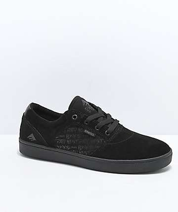 Emerica x Baker Figgy Dose All Black Skate Shoes